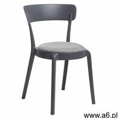 Krzesło fluffi czarne z szarą poduszką - polipropylen marki King home - ogłoszenia A6.pl