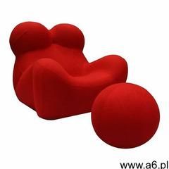 Fotel BIG MAMA z podnóżkiem - krwista czerwień, wełna, kolor czerwony - ogłoszenia A6.pl