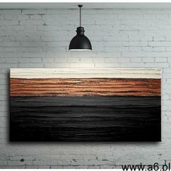 elegancka czerń z miedzią - nowoczesny obraz abstrakcyjny z grubą strukturą - ogłoszenia A6.pl