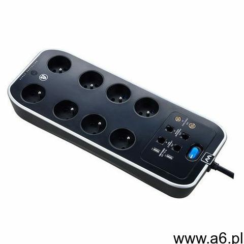 Przedłużacz Masterplug 8 x 16 A 3 x 1,5 mm2 4 x USB 2 m czarny, kolor czarny - 1