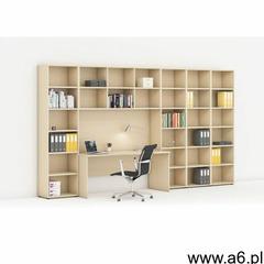 Biblioteka z wbudowanym biurkiem, wysoka/szeroka, 3350x700/400x2300 mm, brzoza - ogłoszenia A6.pl