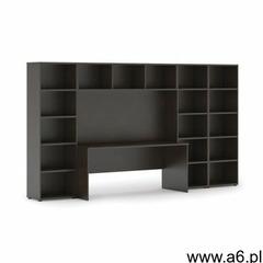 Biblioteka z wbudowanym biurkiem, niska/szeroka, 3350x700/400x1923 mm, wenge - ogłoszenia A6.pl