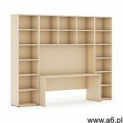 Biblioteka z wbudowanym biurkiem, wysoka, 2950x700/400x2300 mm, brzoza - ogłoszenia A6.pl
