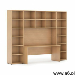Biblioteka z wbudowanym biurkiem, 2950 x 700/400 x 2300 mm, buk - ogłoszenia A6.pl