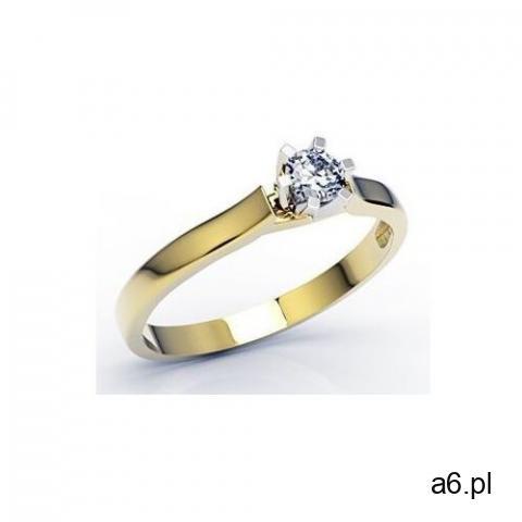 Pierścionek zaręczynowy z żółtego i białego złota z brylantem lp-8022zb - żółte i białe marki Węc -  - 1