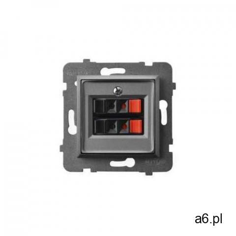Gniazdo głośnikowe aria gg-2u/m/70 podwójne szary mat marki Ospel - 1