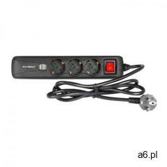 Adam Hall Accessories 8747 S 3 USB - 3-gniazdkowa listwa zasilająca z włącznikiem i 2 gniazdami do ł - ogłoszenia A6.pl