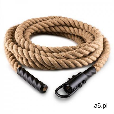 Capital sports lina power rope z hakiem 9 m 3,8 cm lina konopna do ćwiczeń siłowych zamocowanie sufi - 1
