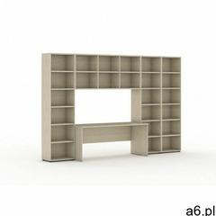 Biblioteka z wbudowanym biurkiem, wysoka/szeroka, 3350x700/400x2300 mm, dąb naturalny - ogłoszenia A6.pl