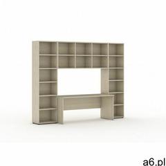 Biblioteka z wbudowanym biurkiem, 2950 x 700/400 x 2300 mm, dąb naturalny - ogłoszenia A6.pl