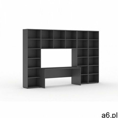 Biblioteka z wbudowanym biurkiem, 3350x700/400x1923 mm, antracyt - ogłoszenia A6.pl