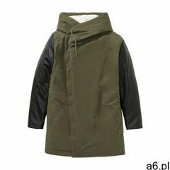 Bonprix Długa kurtka z różnych materiałów ciemnooliwkowo-czarny - ogłoszenia A6.pl