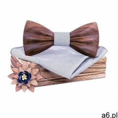 Komplet Niwatch A02: drewniana muszka + poszetka + broszka - ogłoszenia A6.pl