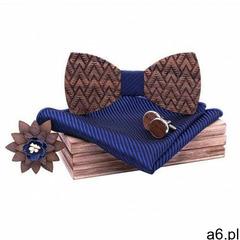 Drewniany komplet T08: muszka, spinki, poszetka i broszka (5907614690762) - ogłoszenia A6.pl