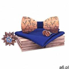 Drewniany komplet T05: muszka, spinki, poszetka i broszka (5907614690755) - ogłoszenia A6.pl