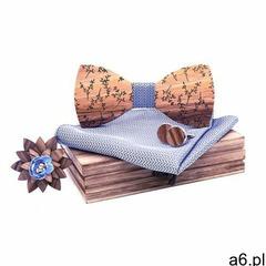 Drewniany komplet T04: muszka, spinki, poszetka i broszka, kolor różowy - ogłoszenia A6.pl