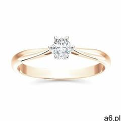 Pierścionek zaręczynowy z różowego i białego złota z brylantem ap-6616pb, kolor różowy - ogłoszenia A6.pl