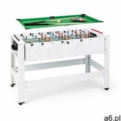 Klarfit spin 2 w 1, stół do gier, bilard, piłkarzyki, 180° obrotowy, akcesoria do gier, biały (40606 - ogłoszenia A6.pl