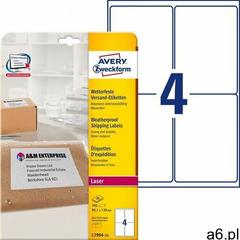 etykiety 99.1mm x 139mm, a4, białe, 1 etykieta, wodoodporny, pakowany po 25 szt., l7994-25, do druka - ogłoszenia A6.pl