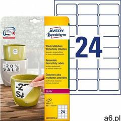 Etykiety Heavy Duty Avery Zweckform A4 20ark./op. 63,5x33,9mm białe poliestrowe - USUWALNE - ogłoszenia A6.pl