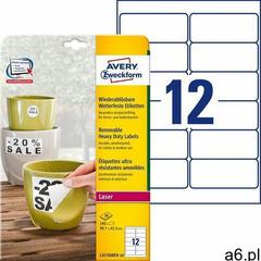 Avery zweckform Etykiety heavy duty a4 20ark./op. 99,1x42,3mm białe poliestrowe - usuwalne (40041820 - ogłoszenia A6.pl