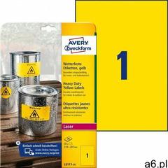 Avery Zweckform etykiety 210mm x 297mm, A4, żółte (L6111-20) Darmowy odbiór w 20 miastach!, L6111-20 - ogłoszenia A6.pl
