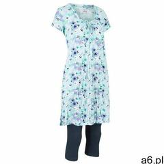 Długa tunika z kreszowanego materiału + legginsy 3/4 ciemnoniebiesko-jasnoniebieski w kwiaty, Bo - ogłoszenia A6.pl