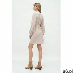 Beżowa sukienka na stójce - S177, kolor beżowy - ogłoszenia A6.pl