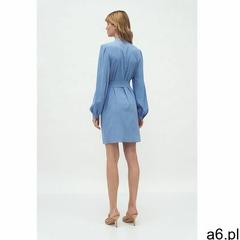 Niebieska sukienka na stójce - S177 - ogłoszenia A6.pl