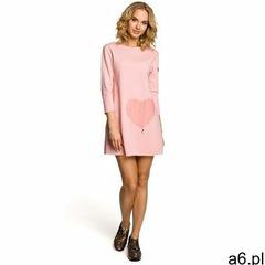 M053 mini sukienka - tunika z dzianiny - różowa, Moe - ogłoszenia A6.pl