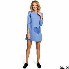 M053 mini sukienka - tunika z dzianiny - niebieska, Moe - ogłoszenia A6.pl