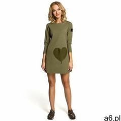 M053 Mini sukienka - tunika z dzianiny - khaki - ogłoszenia A6.pl
