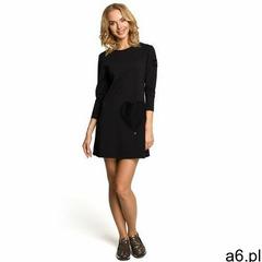 M053 Mini sukienka - tunika z dzianiny - czarna - ogłoszenia A6.pl