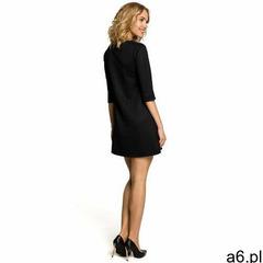 M029 Gładka tunika sukienka trapezowa - czarna - ogłoszenia A6.pl