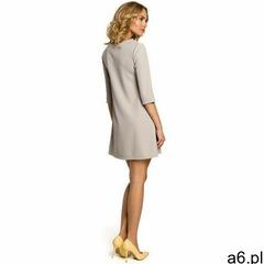 M029 Gładka tunika sukienka trapezowa - szara, kolor szary - ogłoszenia A6.pl