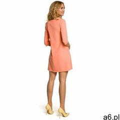 M029 Gładka tunika sukienka trapezowa - koralowa, kolor czerwony - ogłoszenia A6.pl