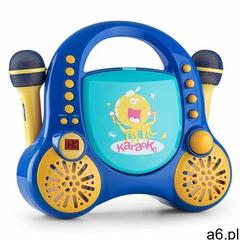 Auna Rockpocket dziecięcy system karaoke CD AUX 2 mikrofony, zestaw naklejek, niebieski (42603958616 - ogłoszenia A6.pl