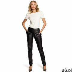 M144 Eleganckie spodnie rurki z eko-skóry - czarne, 100295 - ogłoszenia A6.pl