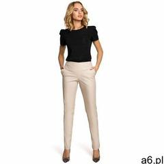 M144 Eleganckie spodnie rurki z eko-skóry - beżowe - ogłoszenia A6.pl
