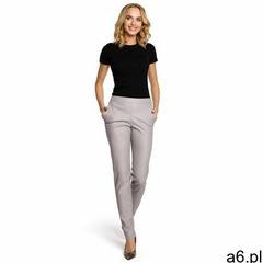 M144 eleganckie spodnie rurki z eko-skóry - szare marki Moe - ogłoszenia A6.pl