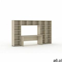 Biblioteka z wbudowanym biurkiem, 3350x700/400x1923 mm, dąb naturalny - ogłoszenia A6.pl