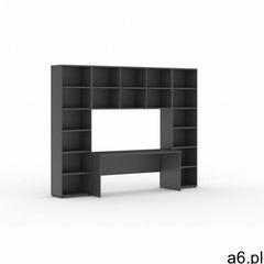 Biblioteka z wbudowanym biurkiem, 2950 x 700/400 x 2300 mm, antracyt - ogłoszenia A6.pl