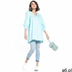 Tunika z bufiastym rękawem 3/4 - jasnoniebieska, bawełna - ogłoszenia A6.pl