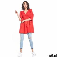 Tunika z bufiastym rękawem 3/4 - czerwona, 1 rozmiar - ogłoszenia A6.pl