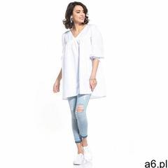 Tunika z bufiastym rękawem 3/4 - biała, bawełna - ogłoszenia A6.pl