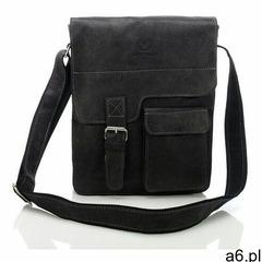 Czarna listonoszka torba skórzana na ramię, kolor czarny - ogłoszenia A6.pl