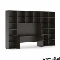 Biblioteka z wbudowanym biurkiem, wysoka/szeroka, 3350x700/400x2300 mm, wenge - ogłoszenia A6.pl