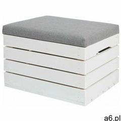 Biała drewniana skrzynia z siedziskiem alva 2x- 38 kolorów marki Elior - ogłoszenia A6.pl