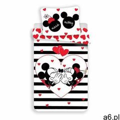 Jerry Fabrics Pościel bawełniana Mickey i Minnie Stripes, 140 x 200 cm, 70 x 90 cm - ogłoszenia A6.pl