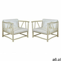 Zestaw 2 foteli ogrodowych BEJAIA z drewna teckowego z białymi poduszkami - ogłoszenia A6.pl